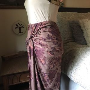 Dresses & Skirts - Taupe Floral Print Wrap Front High Low Skirt